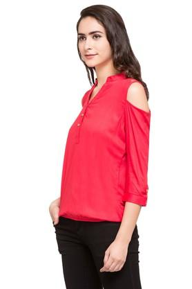 Womens Mandarin Neck Solid Top