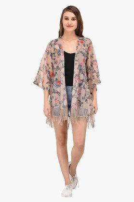 Womens Open Neck Printed Shrug