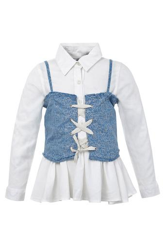 Girls Collared Solid Shirt with Cinchier Waistcoat