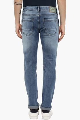 Mens Tapered Fit Stone Wash Jeans