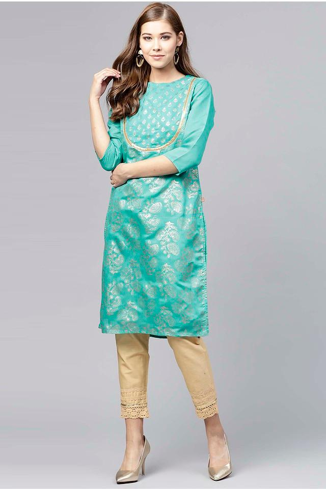 Womens Round Neck Printed Kurta and Pant Set