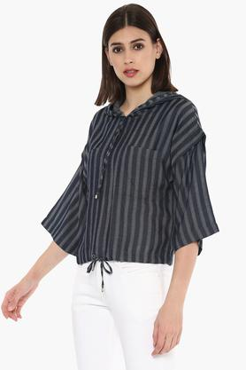 Womens Hooded Neck Striped Top