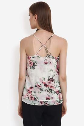 Womens Strappy Neck Printed Layered top