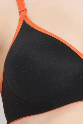 Womens Solid Padded Non Wired Push Up Bra