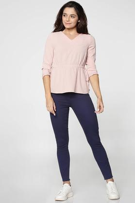 Womens Regular Fit V Neck Slub Top