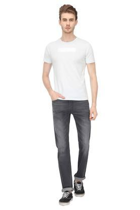Mens 4 Pocket Whiskered Effect Jeans (513)