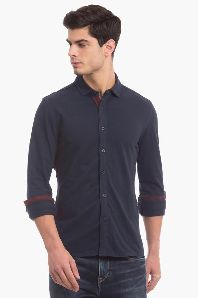 Mens Slim Fit Solid Casual Shirt