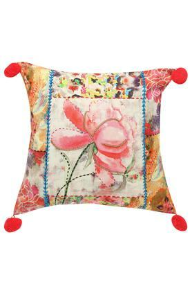 Square Floral Printed Embellished Cushion Cover