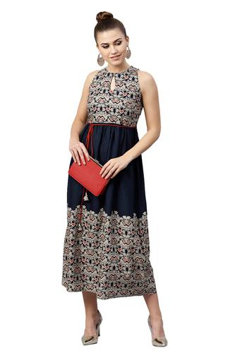 Womens Key Hole Neck Printed Calf Length Dress
