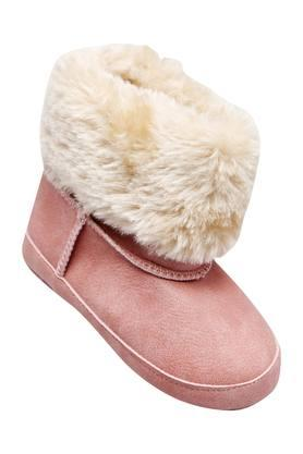 Girls Suede Synthetic Fur Booties