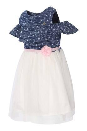 Girls Round Neck Lace Flared Dress with Belt