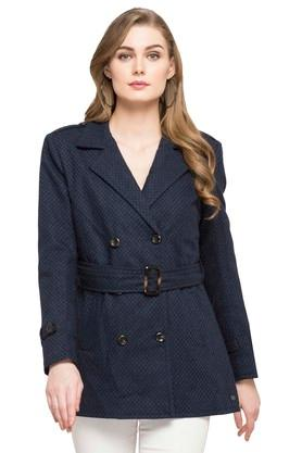 U.S. POLO ASSN. Womens Notched Lapel Self Pattern Trenchcoat