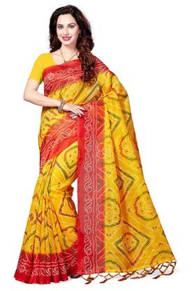 ISHIN Womens Printed Art Silk Saree - 204036385_9407