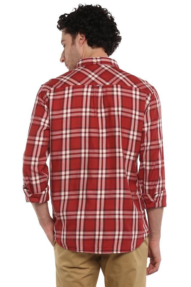 Mens Button Down Collar Checked Shirt