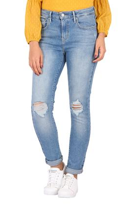 Womens 5 Pocket Distressed Jeans