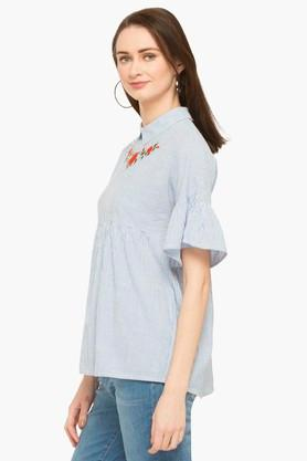 Womens Collared Stripe Top