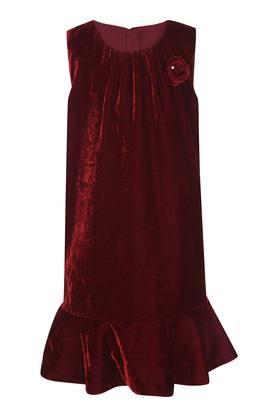 Girls Round Neck Self Pattern Dress