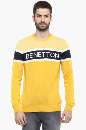 UNITED COLORS OF BENETTONMens Round Neck Graphic Print Sweater