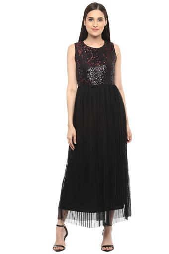 Womens Round Neck Sequin Embellished Maxi Dress