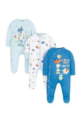 Boys Round Neck Printed Sleepsuits - Pack Of 3