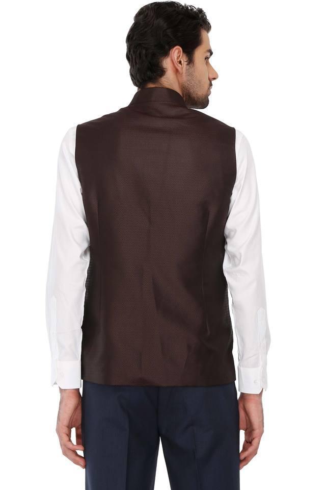 Mens Mao Collar Printed Nehru Jacket