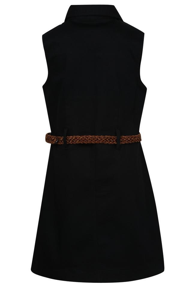 Girls Solid A-Line Dress