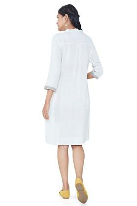 Womens Collared Embroidered Shift Dress