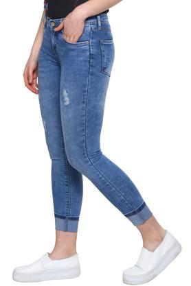 Womens 5 Pocket Stone Wash Crop Jeans