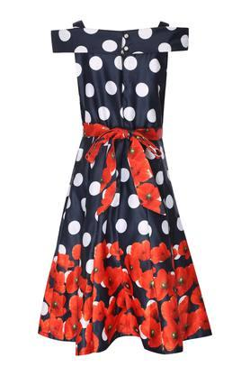 Girls Strappy Neck Printed Pleated Dress