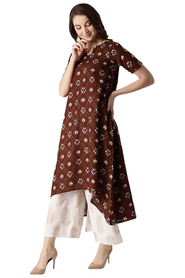 Womens Cotton Printed Aline High Low Kurta