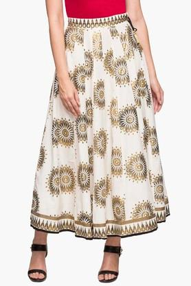 STOP Womens Printed Long Flared Skirt