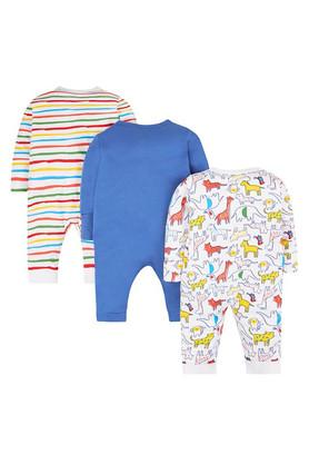 Kids V-Neck Printed Sleepsuit - Pack of 3