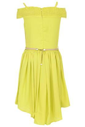 Girls Strappy Neck Solid Asymmetrical Dress