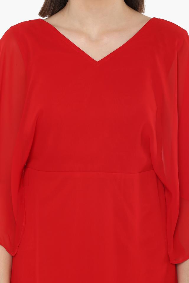 Womens V-Neck Solid Short Dress
