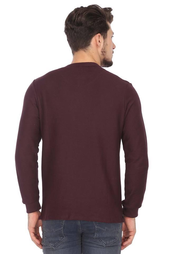 Mens Henley Neck Solid T-Shirt