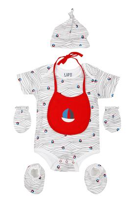 Unisex Round Neck Printed Babysuit with Socks Gloves Cap and Bib