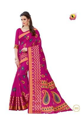 ASHIKAWomens Printed Saree With Blouse Piece - 204576954_7106
