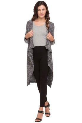 ALLEN SOLLY Womens Open Neck Slub Cardigan