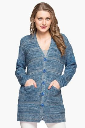 ONER Womens V-neck Self Pattern Cardigan - 203139786