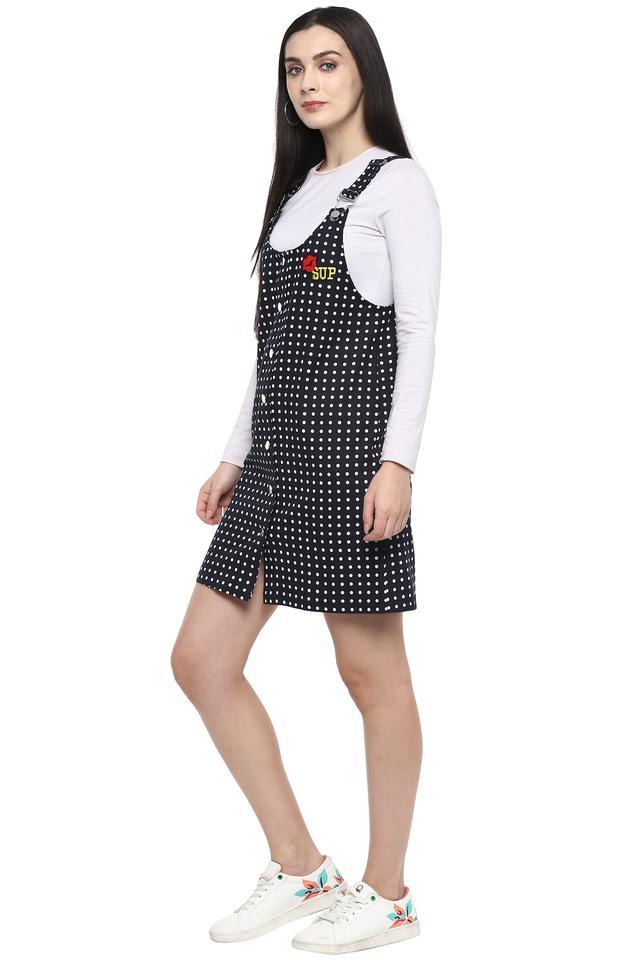 Womens Strappy Neck Polka Dots Pinafore Dress