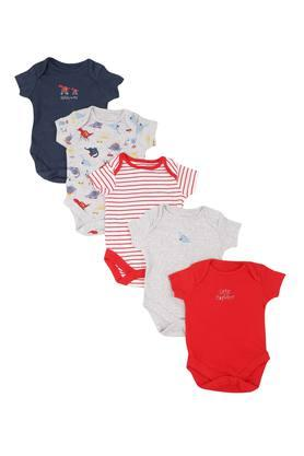 Boys Envelope Neck Printed Solid and Stripe Bodysuit Pack of 5