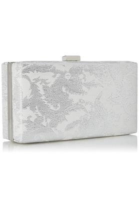 Womens Metallic Lock Closure Sling Clutch