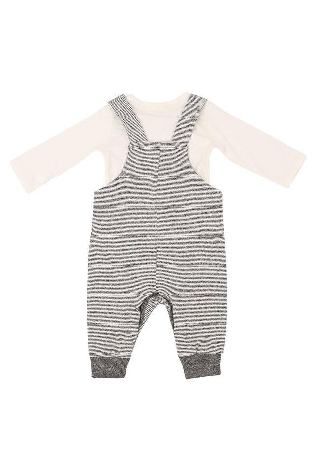 Kids Round Neck Solid T-Shirt and Striped Dungarees Set