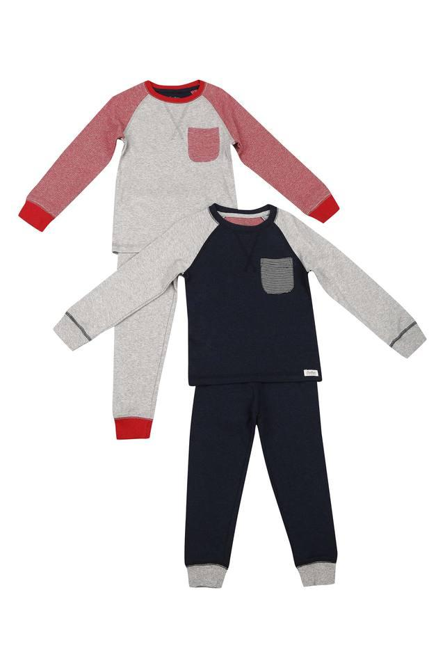 Boys Round Neck Slub Pants and Tee - Pack of 2
