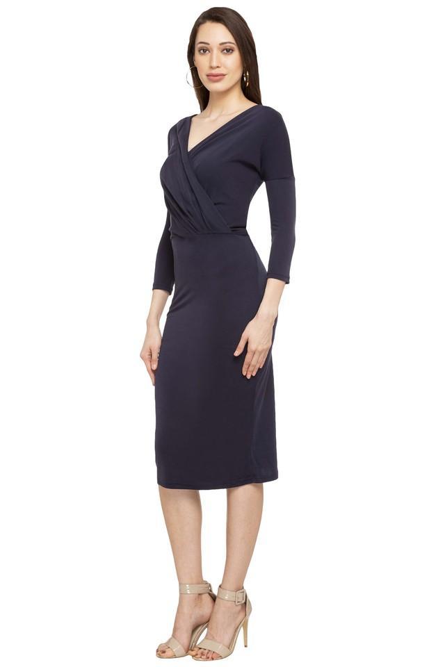 Womens V-Neck Solid Knee Length Dress