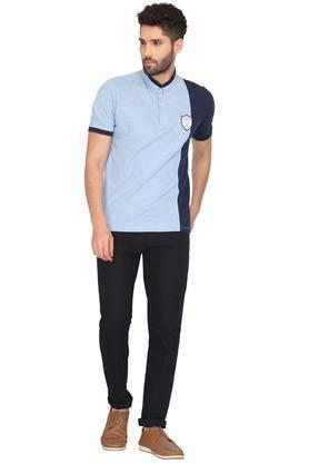 Mens Band Collar Striped T-Shirt