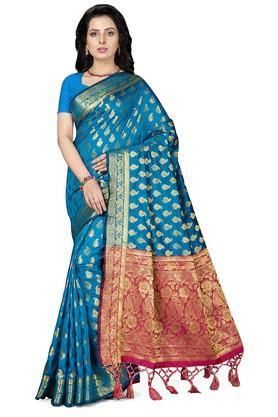 ISHINWomens Gold Woven Saree With Blouse Piece - 204668452_8025