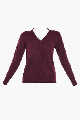 ONER Womens V-Neck Solid Cardigan
