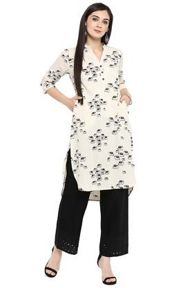 JUNIPER Womens Cotton Flex Printed High Low Kurta With Palazzo