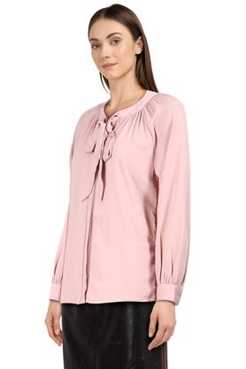 Womens Tie Up Neck Solid Tunic